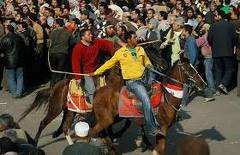 Horse Riders with Whips in Tahrir Square